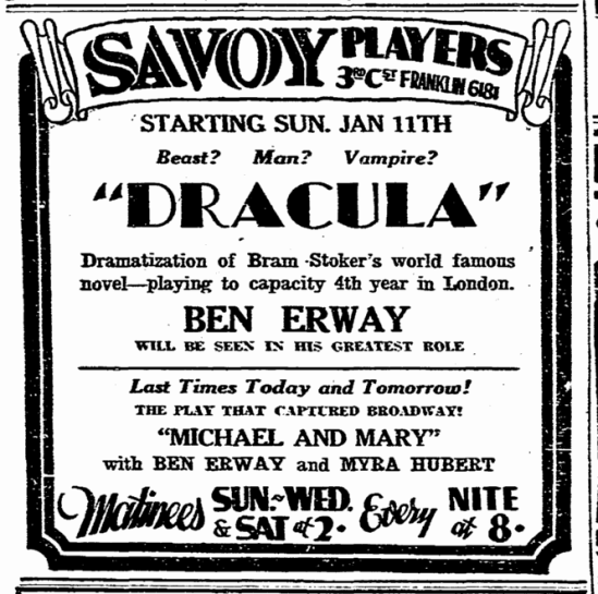 Ben Erway Dracula, Evening Tribune, January 9, 1931 2
