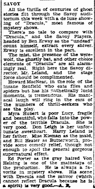 Ben Erway Dracula, San Diego Union, January 12, 1931