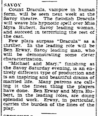 Ben Erway Dracula, San Diego Union, January 8, 1931