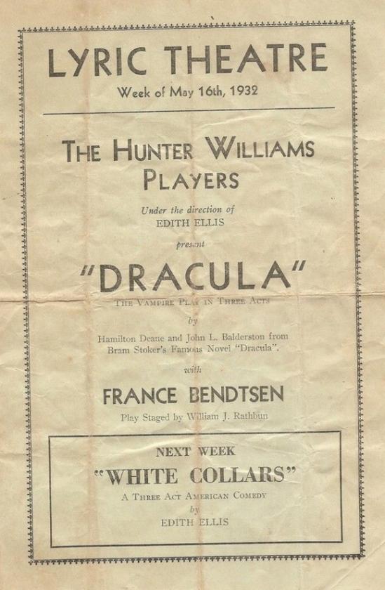 Dracula 1932 Programme 1