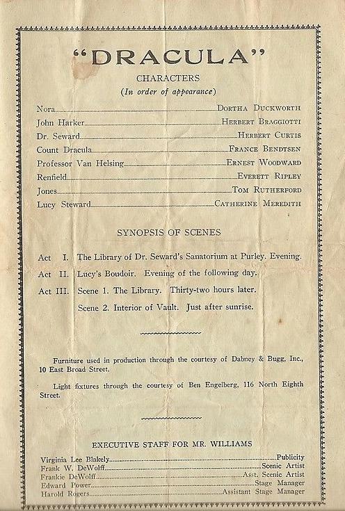 Dracula 1932 Programme 2