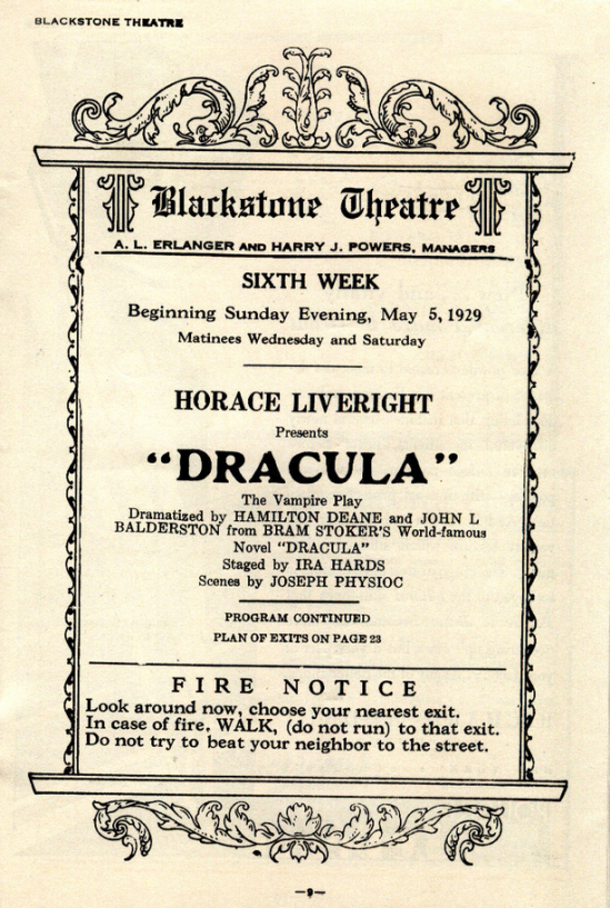 Raymund Huntley Dracula Blackstone Theatre, Chicago. Week beginning May 5, 1929