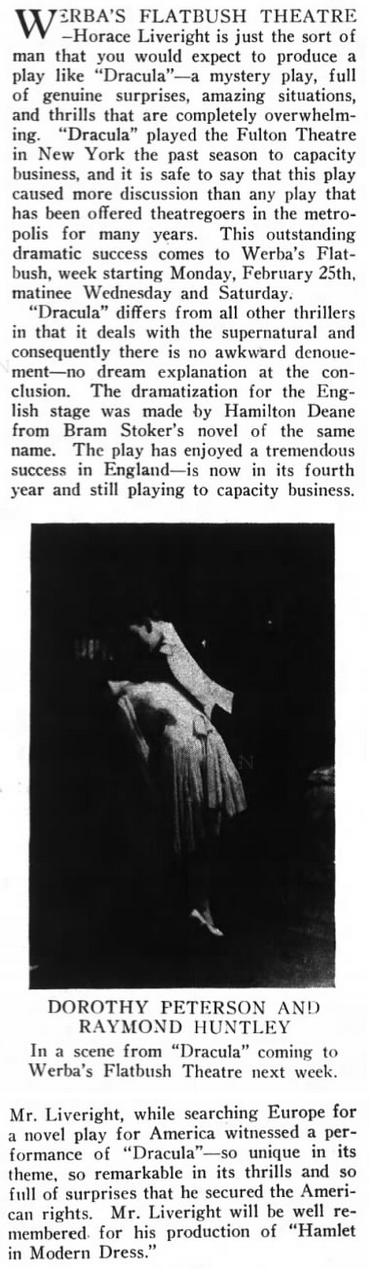 Dracula, Brooklyn Life, February 23, 1929