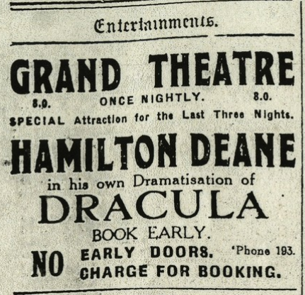 Dracula, Derby, The Derby Telegraph, May 15, 1924