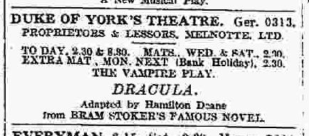 Dracula, July 27, 1927 a