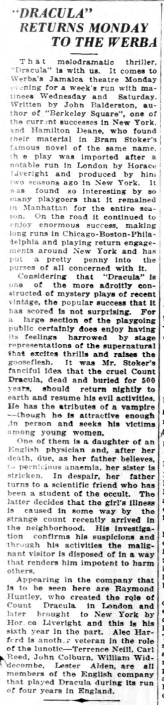 Raymond Huntley, Dracula, Long Island Daily Press, January 18, 1930