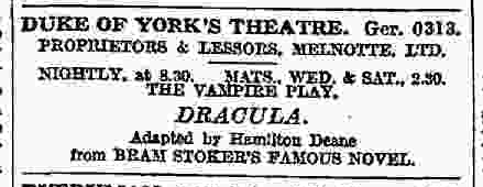 Dracula, The Times August 4, 1927 a