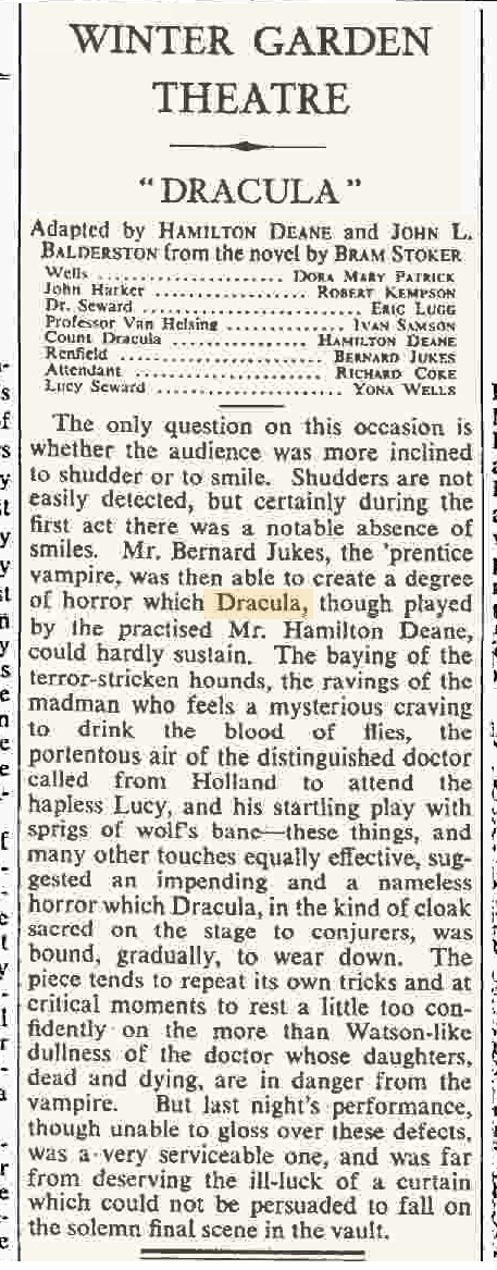 Dracula The Times March 21, 1939