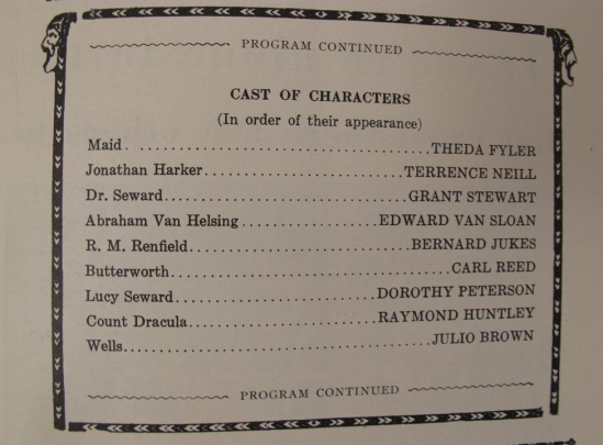 Huntley Dracula, Blackstone Theatre, May 5th, 1929 2