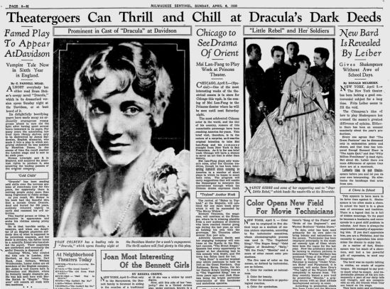 Milwaukee Sentinel Sun April 6, 1930 A
