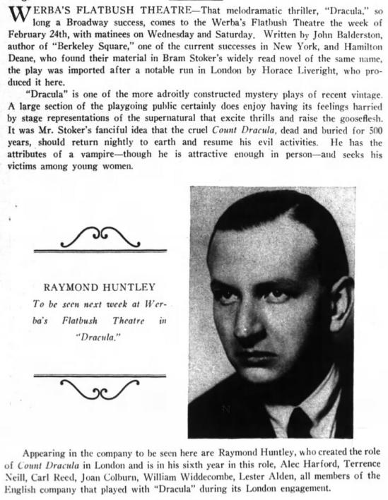 Raymond Huntley, Dracula, Brooklyn Life, February 22, 1930
