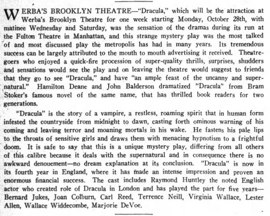 Raymond Huntley, Dracula, Brooklyn Life, October 26, 1929 1