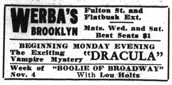Raymond Huntley, Dracula, Brooklyn Life, October 26, 1929