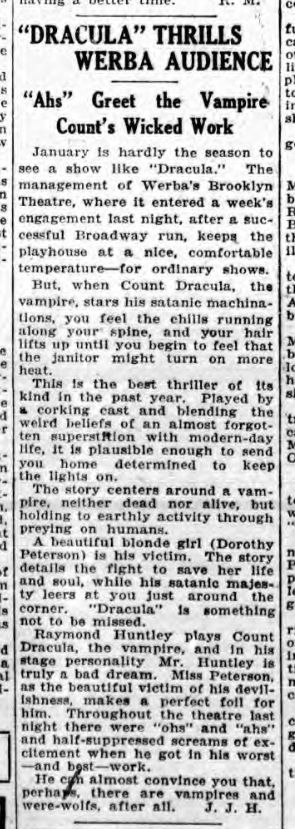 Raymond Huntley, Dracula, Standard Union, January 29, 1929 2