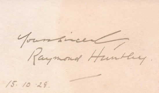 Raymond Huntley, October 15, 1928