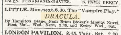 Dracula, The Times February 10, 1927