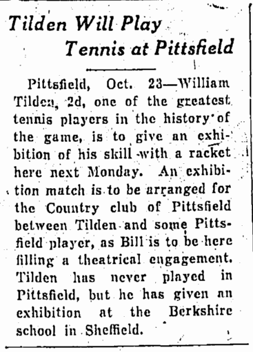 William T. Tilden 2nd, Springfield Republican, October 24, 1928