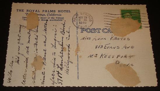 Bela postcard November 29, 1940 2