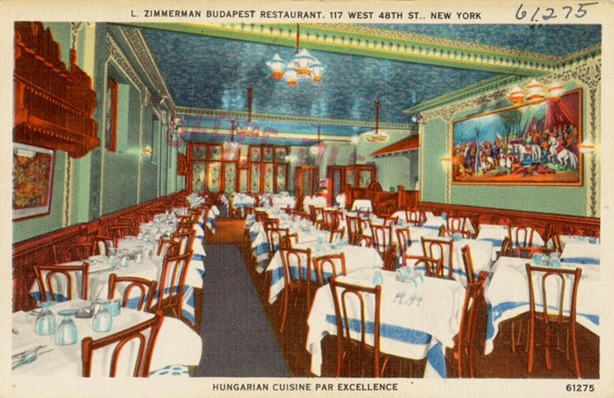 L. Zimmerman Budapest Restaurant was located at 117 W. 48th St. in New York City
