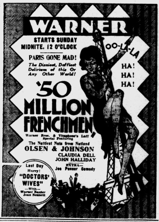 50,000,00 Frenchmen, Pitsburgh Post-Gazette, April 4, 1931