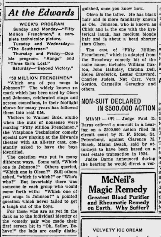 50,000,00 Frenchmen, Sarasota Herald-Tribune, April 19, 1931