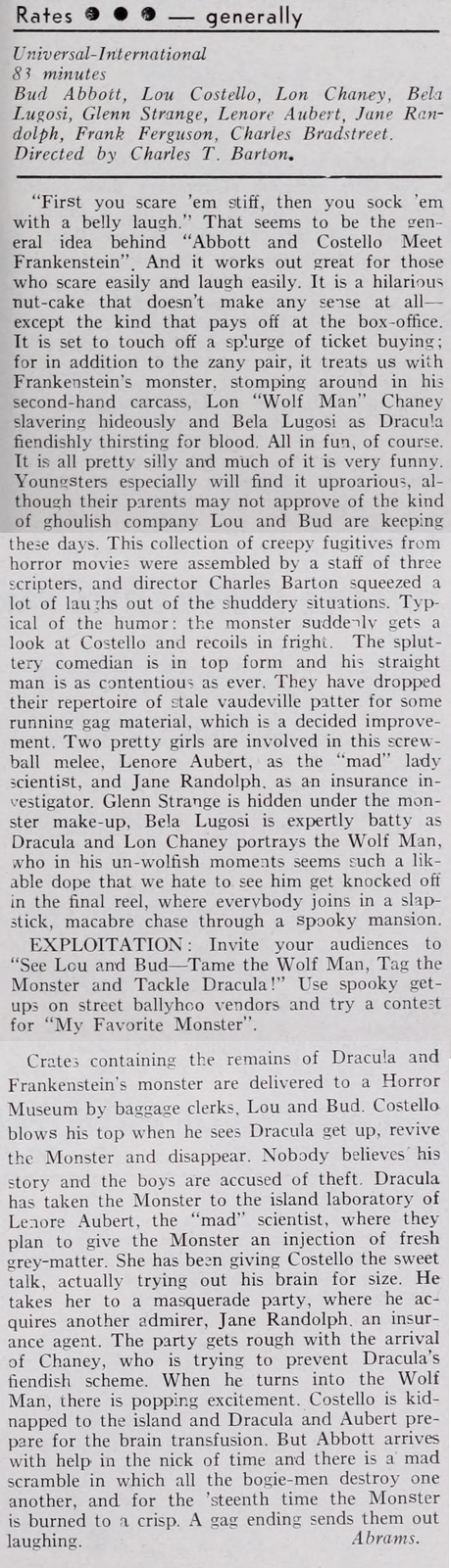 Abbott And Costello Meet Frankenstein Film Bulletin, July 5, 1948