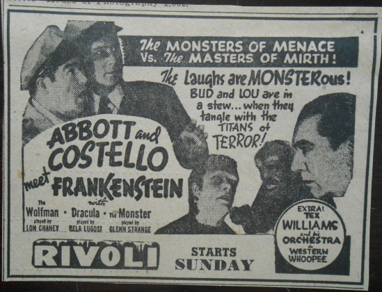 Abbott and Costello Meet Frankenstein Newspaper Ad 2