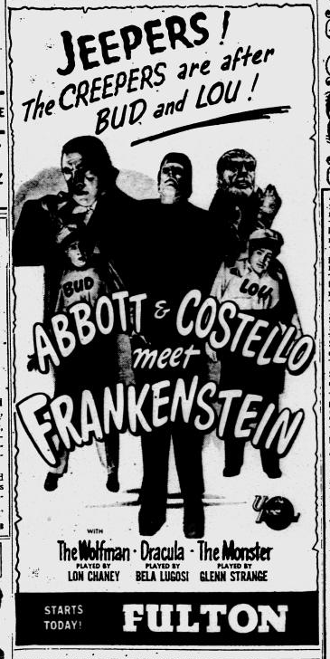Abbott and Costello Meet Frankenstein, Pittsburgh Post-Gazette, August 17, 1948