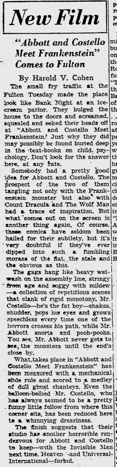 Abbott and Costello Meet Frankenstein, Pittsburgh Post-Gazette, August 17, 1948 b