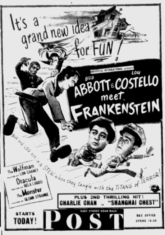Abbott and Costello Meet Frankenstein, Spokane Daily Chronicle, August 27, 1948