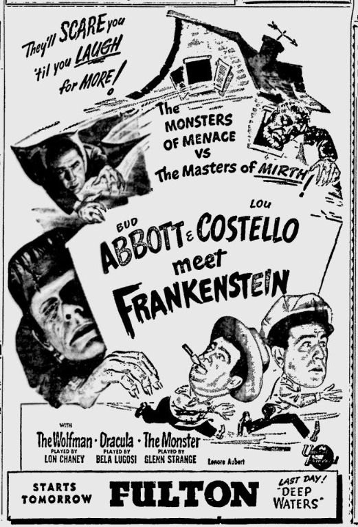 Abbott and Costello Meet Frankenstein, The Pittsburgh Press, August 16, 1948 b