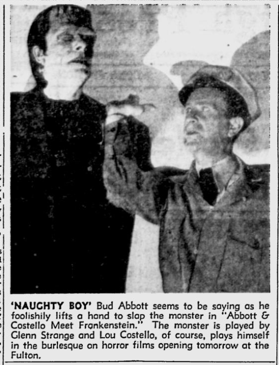 Abbott and Costello Meet Frankenstein, The Pittsburgh Press, August 16, 1948