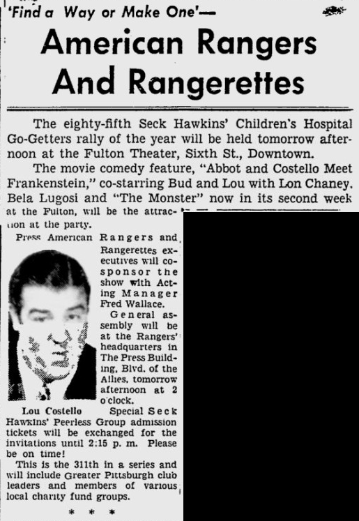 Abbott and Costello Meet Frankenstein, The Pittsburgh Press, August 25, 1948