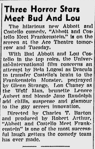 Abbott and Costello Meet Frankenstein, The Sunday Morning Star, January 9, 1949 b