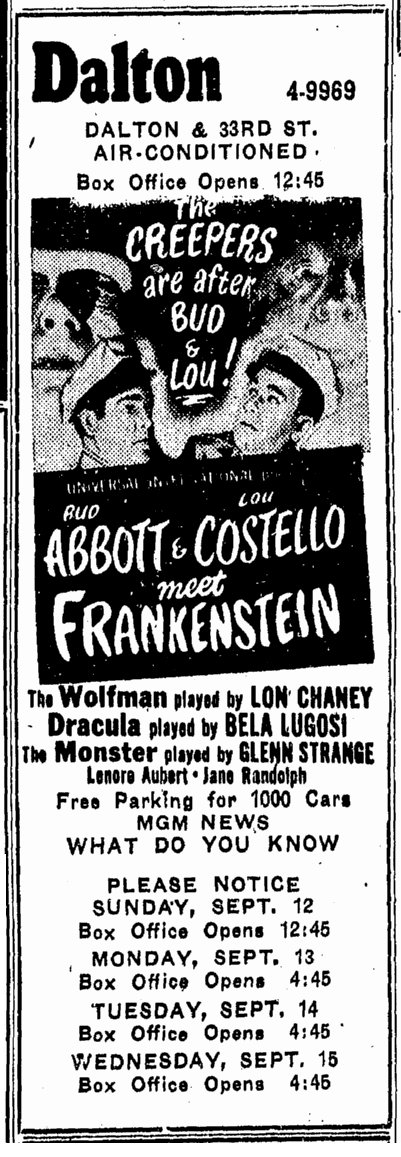 Abbott & Costello Meet Frankenstein, Advocate, September 12, 1948