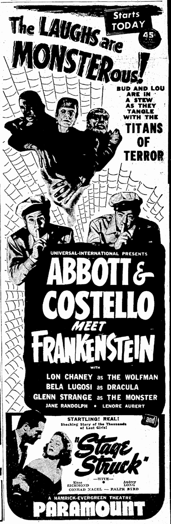 Abbott & Costello Meet Frankenstein, Seattle Daily Times, July 28, 1948 2