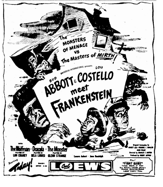 Abbott & Costello Meet Frankenstein, Times-Picayune, August 11, 1948