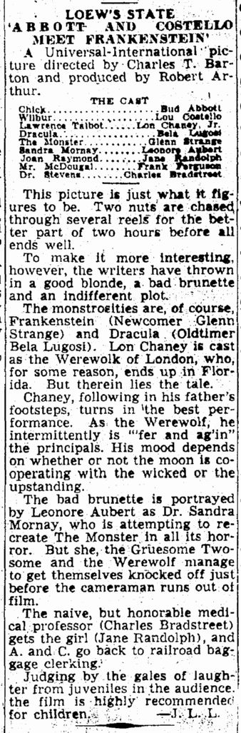 Abbott & Costello Meet Frankenstein, Times-Picayune, August 12, 1948
