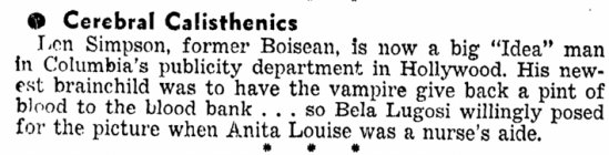 Bela Lugosi, Idaho Statesman, October 10, 1943
