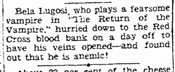 Bela Lugosi, Kansas City Star, September 14, 1943