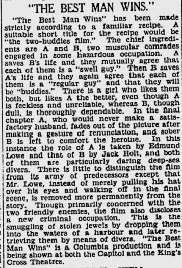 Best Man Wins, The Sydney Morning Herald, March 11, 1935