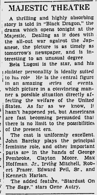 Black Dragons, The Daily Times, July 31, 1942 b
