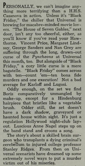 Black Friday, Photoplay, April 1940
