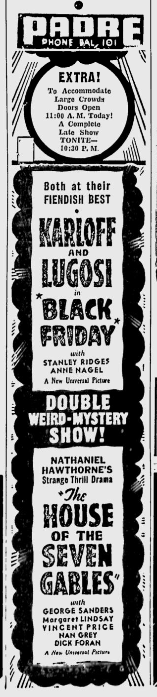 Black Friday, San Jose Evening News April 27, 1940