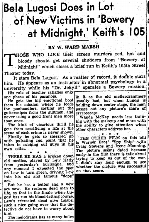 Bowery at Midnight, Cleveland Plain Dealer, November 17, 1942