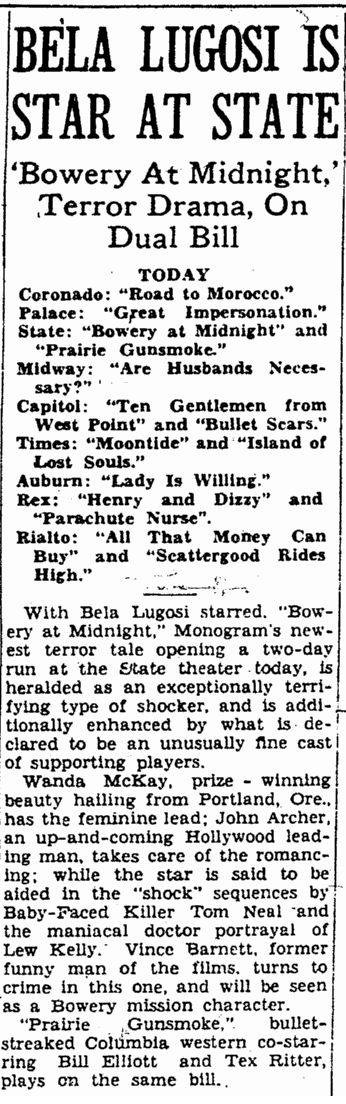 Bowery At Midnight, Rockford Morning Star, January 22, 1943