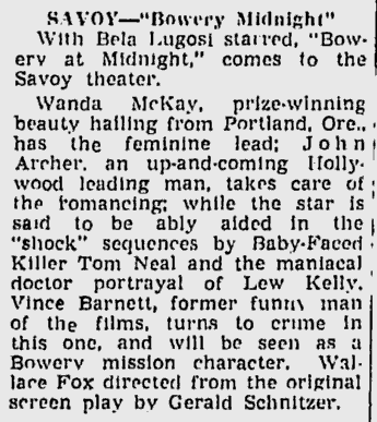 Bowery at Midnight, The Sunday Morning Star, February 7, 1943