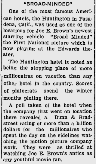 Broadminded, Sarasota Herald Tribune, August 14, 1931