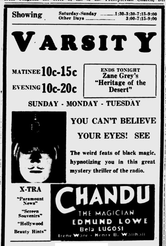 Chandu The Magican, Lawrence Journal-World, October 1, 1932 b