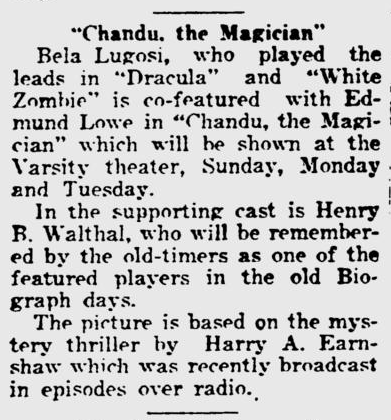 Chandu The Magican, Lawrence Journal-World, October 1, 1932